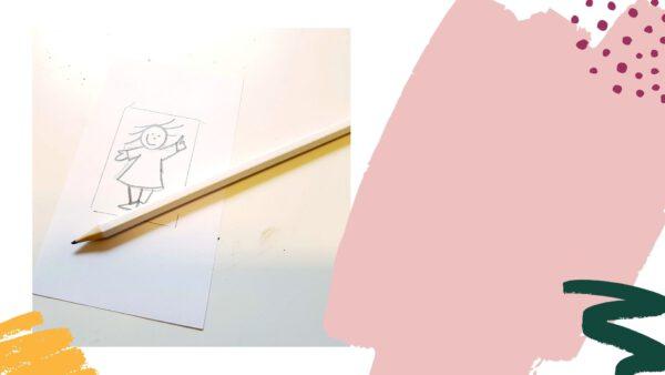 Een klein tekeningetje als ontwerpje voor de stempel (deel uit video)