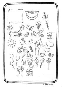 kleurplaat met kleine tekeningetjes
