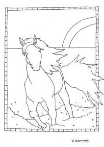 kleurplaat met een paard