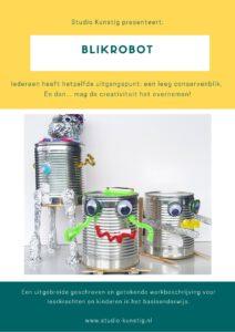 De voorpagina van de lesbrief blikrobot