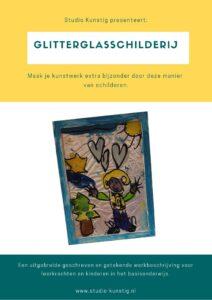 De voorpagina van de lesbrief glitterglasschilderij
