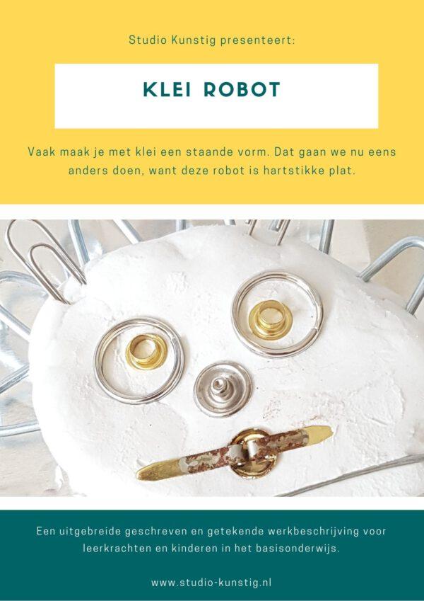De voorpagina van de lesbrief klei robot