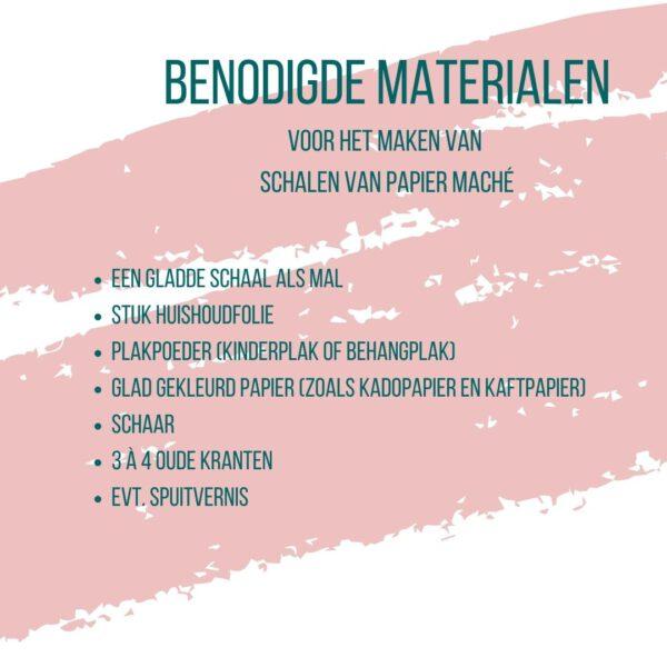lijstje van materialen