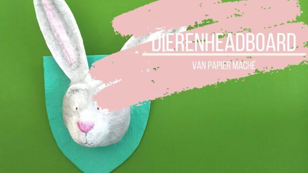 Een konijnen-headboard van papier maché