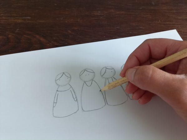 het schetsen van poppetjes